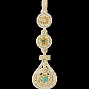 Edwardian Turquoise & Diamond Lavalier Pendant - 14k Yellow Gold Vintage