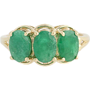 Three-Stone Emerald Ring - 10k Yellow Gold May Birthstone 2.55ctw