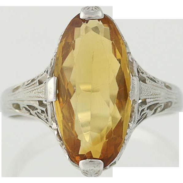 Art Deco Citrine Ring - 18k White Gold November Birthstone Vintage 3.25ct