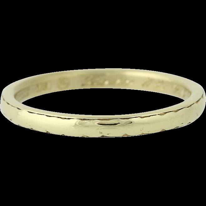Art Deco Wedding Band - 18k Yellow Gold Vintage Circa 1922 Women's Ring