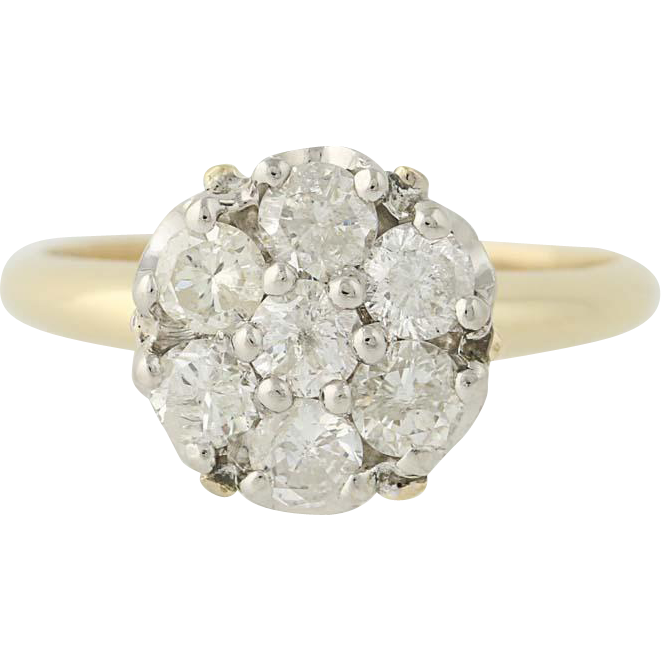 Diamond Cluster Ring - 14k Yellow & White Gold Size 6 1/2 Women's 1.00ctw