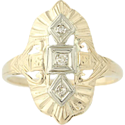 Art Deco Diamond Ring - 14k Yellow & White Gold Vintage .05ctw