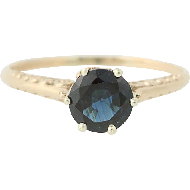 Art Deco Sapphire Ring - 10k Yellow Gold Vintage September Gift Solitaire 1.11ct