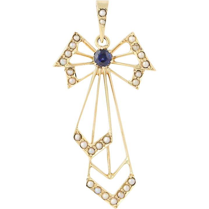 Art Deco Sapphire & Seed Pearl Bow Pendant - 14k Yellow Gold Vintage Gift .16ct