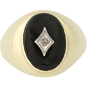 Men's Onyx Ring - 10k Yellow & White Gold Diamond Accent .01ct