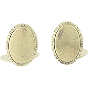 Art Deco Cufflinks - 14k Yellow Gold Etched Oval Vintage Men's Gift