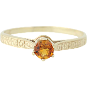 Citrine Solitaire Ring - 10k Yellow Gold Round Cut November Gift .18ct