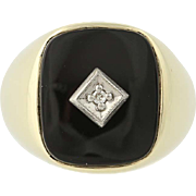 Onyx & Diamond Ring - 10k Yellow & White Gold Size 9 3/4 - 10 Men's .01ct