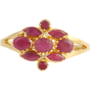 Ruby Cluster Ring - 22k Yellow Gold July Birthstone 1.32ctw