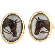 "Edwardian Tiffany & Co. Equestrian Cufflinks - 18k Gold ""Essex Crystals"" Vintage"