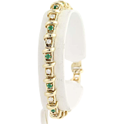 "Emerald & Diamond Link Bracelet 6 3/4"" - 14k Yellow Gold April May Gift 1.80ctw"