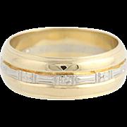 Vintage Wedding Band - 14k Yellow & White Gold Size 10 Men's Ring