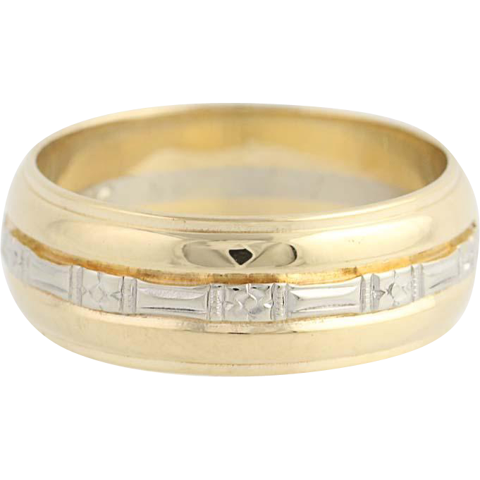 Vintage Wedding Band - 14k Yellow & White Gold Size 10 Men's Ring