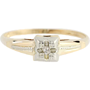 Vintage Diamond Engagement Ring - 14k Yellow & White Gold Solitaire .02ct