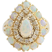 Opal & Diamond Cluster Cocktail Ring- 14k Yellow Gold October Birthstone 2.08ctw