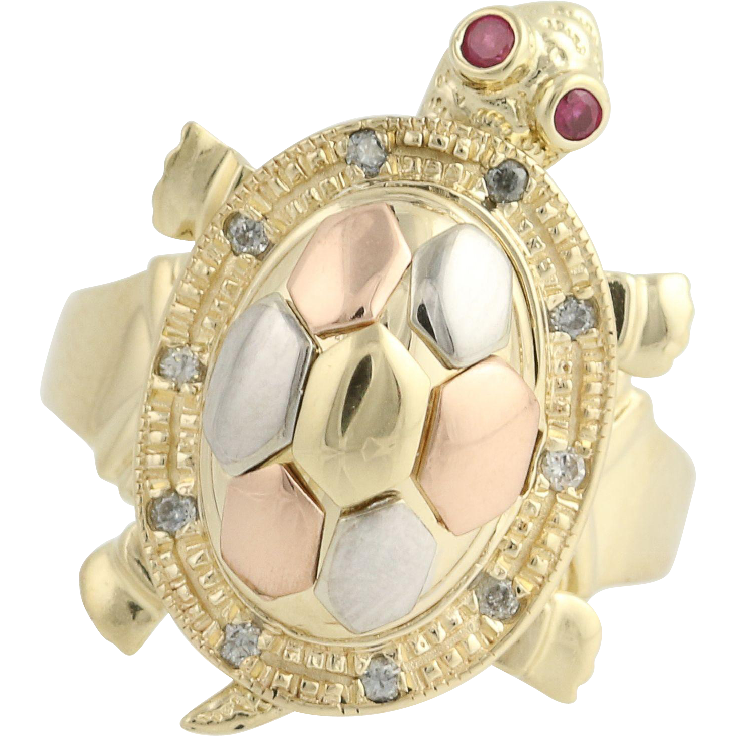 Turtle Poison Box Ring - 14k Yellow Rose White Gold Syn Ruby CZs Vintage Moves