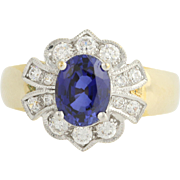 Synthetic Sapphire & Cubic Zirconia Ring - 10k Yellow & White Gold