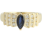 Blue Sapphire & Diamond Ring - 14k Yellow Gold Tiered Setting Marquise 1.18ctw