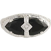 Art Deco Onyx & Diamond Ring - 14k White Gold Size 8 Vintage .01ct