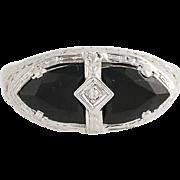 Art Deco Onyx & Diamond Ring - 14k White Gold Size 8 Vintage .01ct