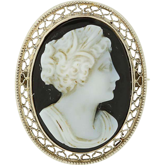 Vintage Carved Banded Agate Hardstone Cameo Brooch - 14k White Gold Women's Gift