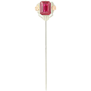 Vintage Synthetic Ruby Stickpin - 10k White & Rose Gold Solitaire