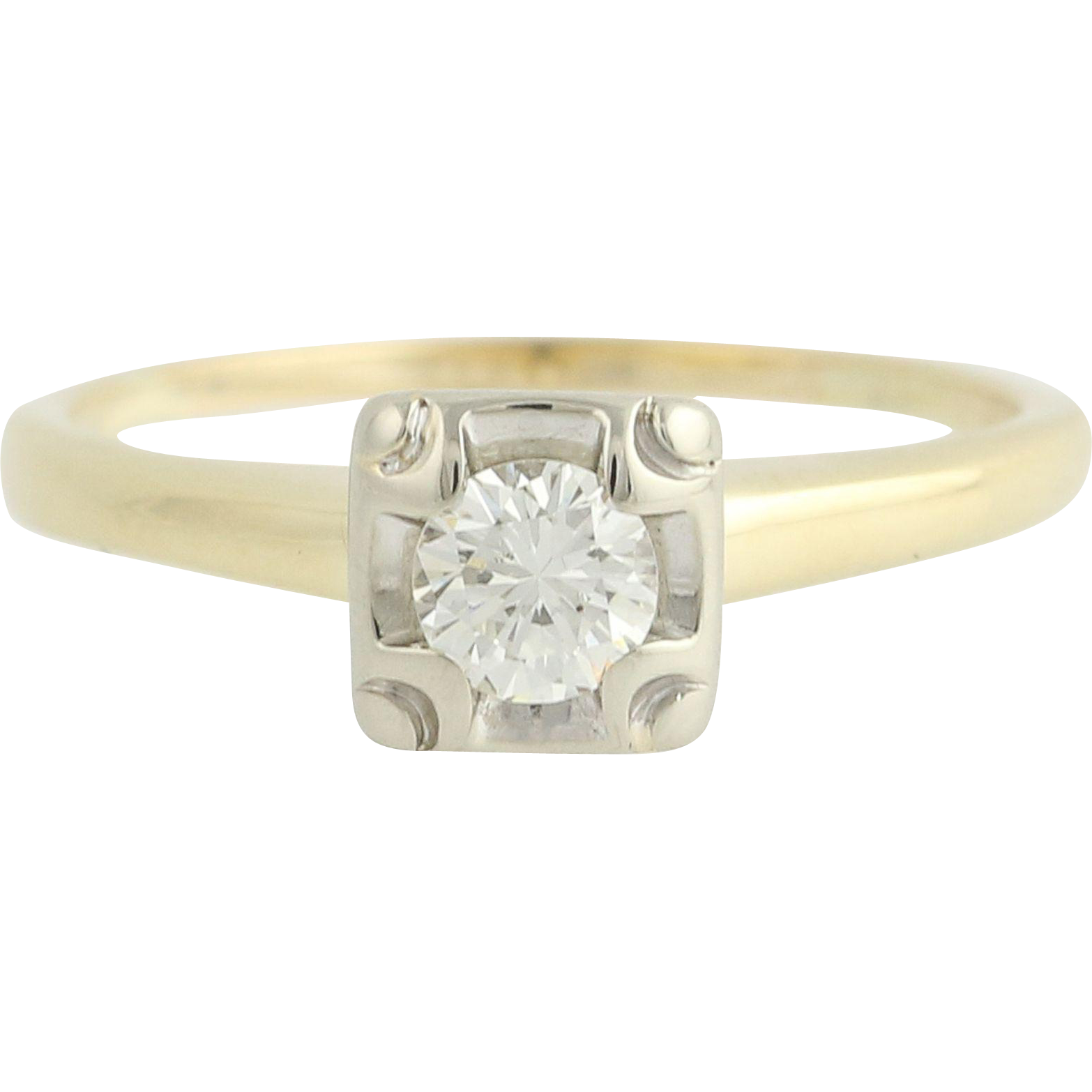 Diamond Engagement Ring - 14k Yellow & White Gold Solitaire .25ct
