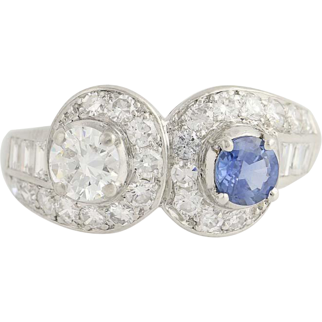 Retro Sapphire & Diamond Ring - 900 Platinum Size 7 Vintage Women's 1.69ctw