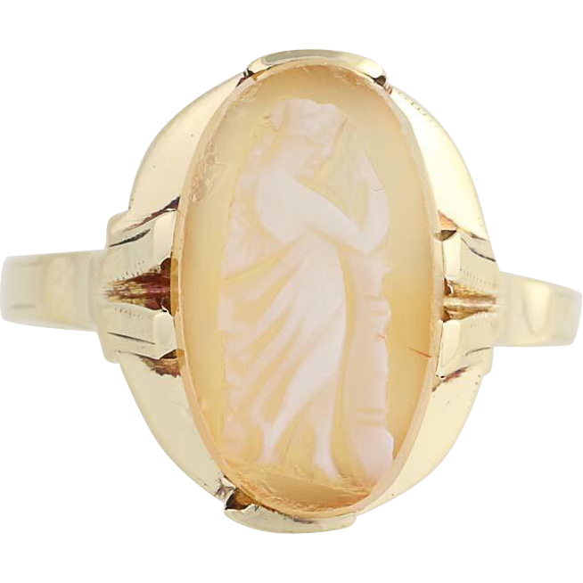 Vintage Cameo Ring - 10k Yellow Gold Carved Shell Rare Full Figure Design