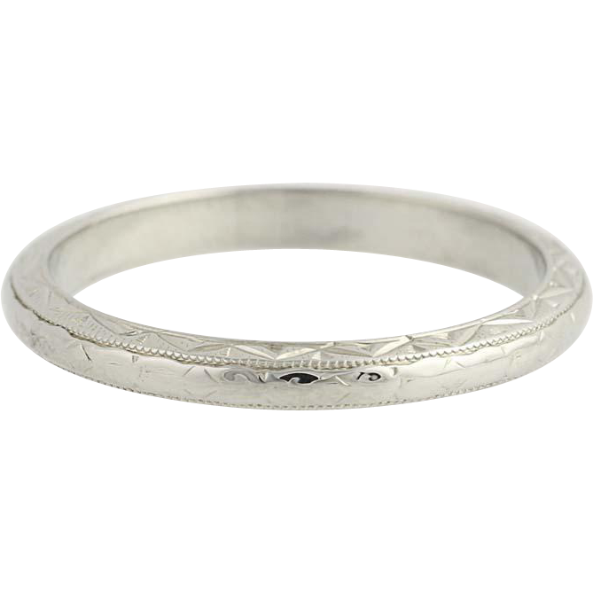 Art Deco Etched Wedding Band - 18k White Gold Women's Vintage Ring Size 6