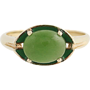 Nephrite Jade Ring - 10k Yellow Gold Oval Solitaire Green Stone Women's 1.5