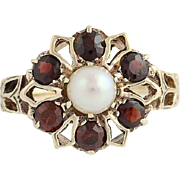 Garnet & Cultured Pearl Flower Ring - 10k Yellow Gold Women's 0.90 5.1mm