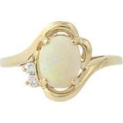 Opal & Diamond Bypass Ring - 14k Yellow Gold October Birthstone 1.18ctw