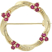 Ruby Wreath Brooch - 14k Yellow Gold July Birthstone Gift .60ctw