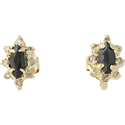 Sapphire & Diamond Halo Earrings - 14k Yellow Gold Studs Pierced 0.78ctw