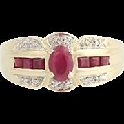 Ruby & Diamond Ring - 14k Yellow & White Gold July 1.02ctw