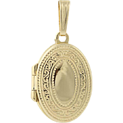 Vintage Scroll Work Locket Pendant - 14k Yellow Gold Women's Opens Engravable