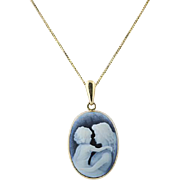 Mother & Child Cameo Pendant - 14k Yellow Gold Carved Black White Agate 18""