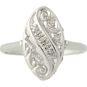 Vintage Diamond-Accented Ring - 14k White Gold Size 6 3/4 Women's
