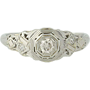 Art Deco Diamond Engagement Ring - 18k White Gold European Cut Vintage .16ctw