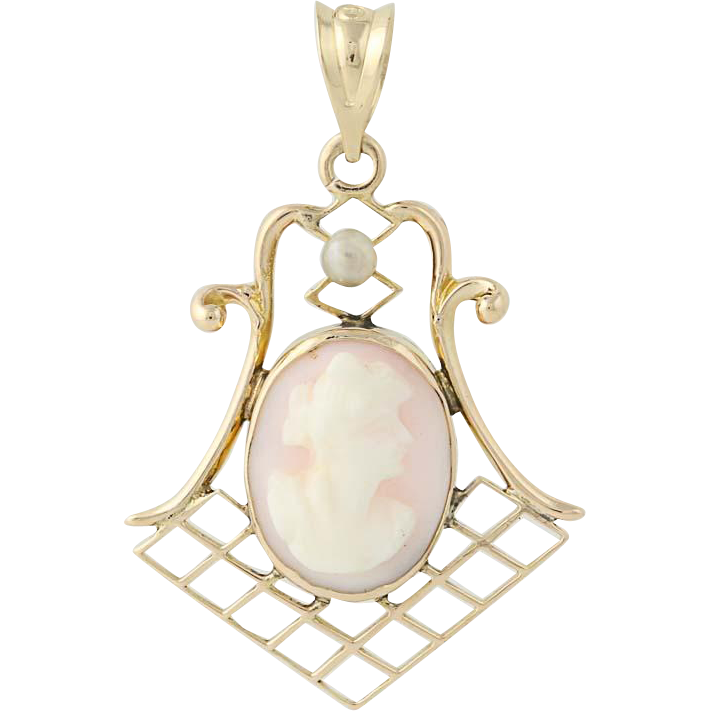 Vintage Carved Pink Shell Cameo Pendant - 14k Yellow Gold Seed Pearl Accent