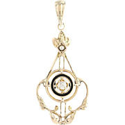 Edwardian Diamond & Seed Pearl Pendant - 14k Yellow Gold Vintage Lavalier .06ct