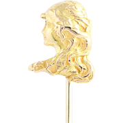 Vintage Stickpin - 14k Yellow Gold Women's Profile Fine gift