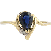 Sapphire & Diamond Bypass Ring - 10k Yellow Gold September Birthstone .75ct