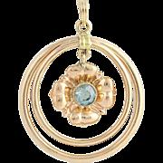 Vintage Floral Blue Zircon Pendant - 10k Rose Gold December Birthstone .36ct