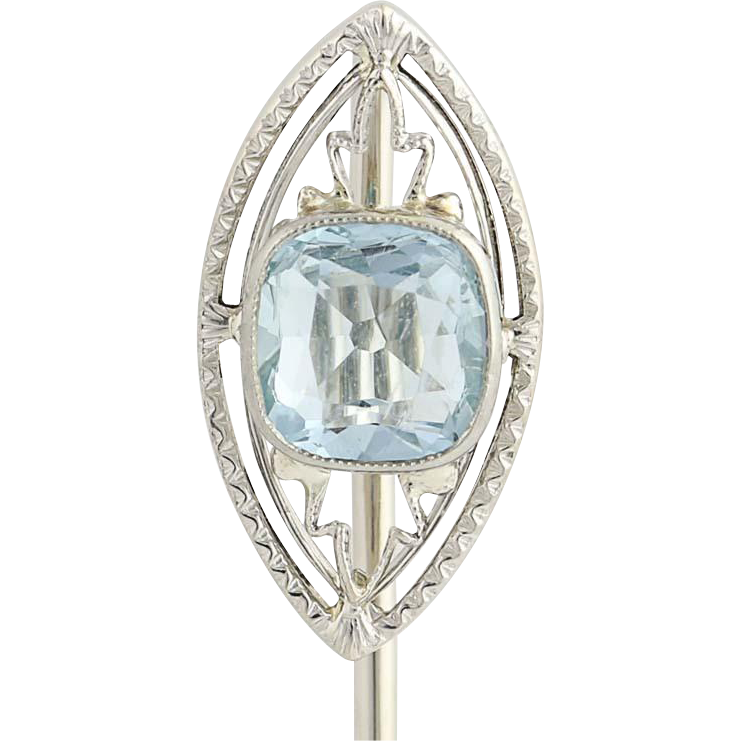 Art Deco Aquamarine Stickpin- 14k White Gold Vintage March Birthstone Gift .69ct