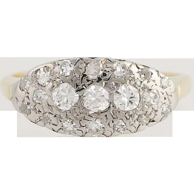Vintage Diamond Ring - 14k Yellow & White Gold Size 5 Women's .44ctw