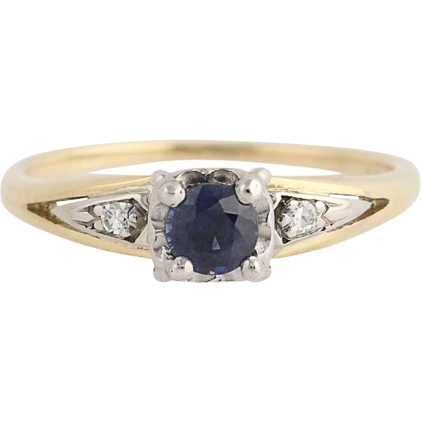 Vintage Sapphire & Diamond Ring - 14k Yellow & White Gold Round Cut .44ctw