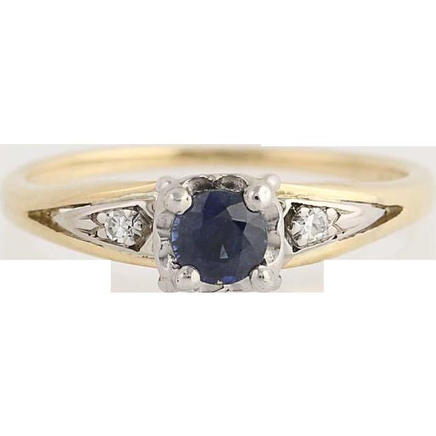 Vintage Sapphire & Diamond Ring - 14k Yellow & White Gold Round Cut .44ctw