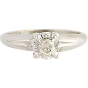 Diamond Engagement Ring - 14k White Gold Round Cut Solitaire .16ct